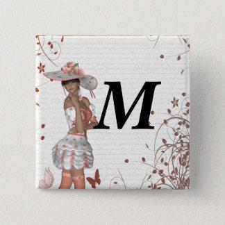 Girl in summer hat button
