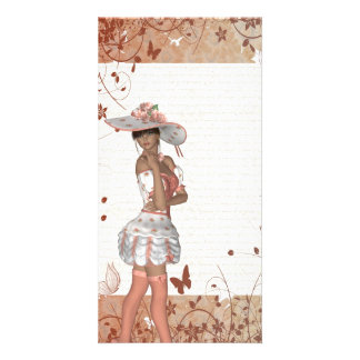 Girl in summer hat card