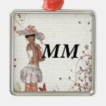 Girl in summer hat christmas ornaments
