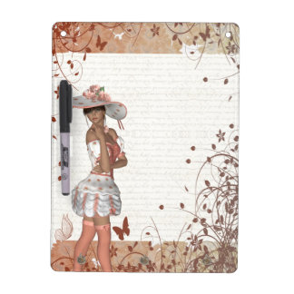 Girl in summer hat dry erase board