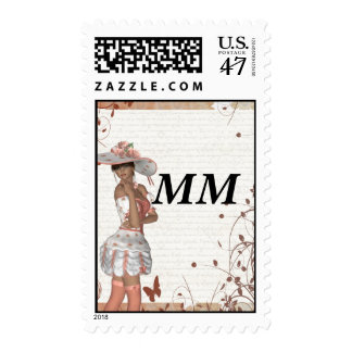 Girl in summer hat postage stamp