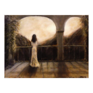 Girl in the Balcony Painting Photo Print