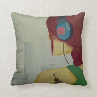 Girl in the city pillow