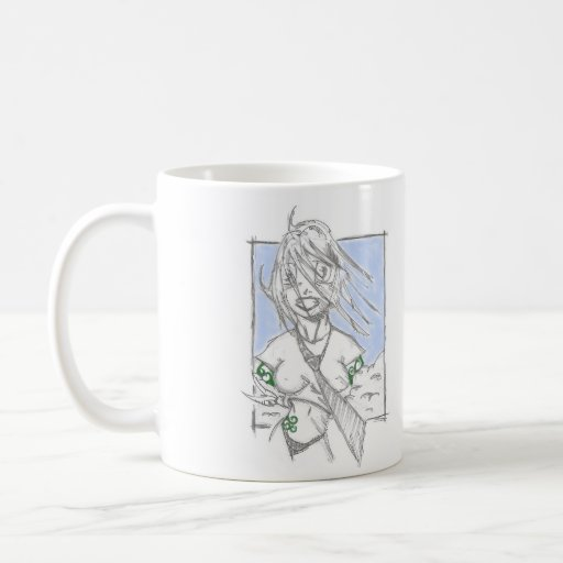 Girl in the clouds. coffee mug