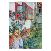 Girl in the Garden with Red Flowers