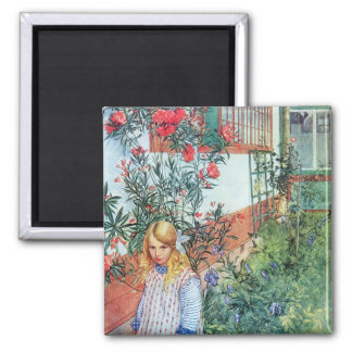 Girl in the Garden with Red Flowers 2 Inch Square Magnet