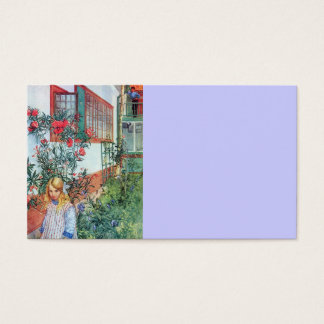 Girl in the Garden with Red Flowers Business Card