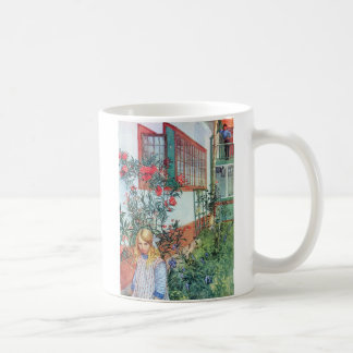 Girl in the Garden with Red Flowers Coffee Mug