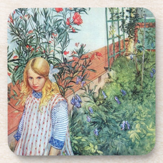 Girl in the Garden with Red Flowers Coaster