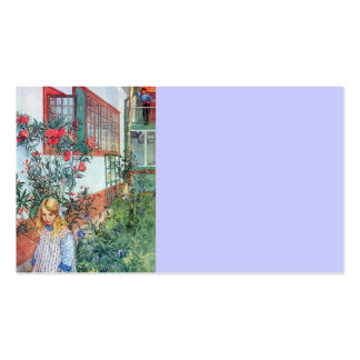 Girl in the Garden with Red Flowers Double-Sided Standard Business Cards (Pack Of 100)