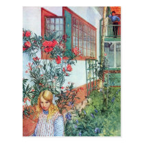 Girl in the Garden with Red Flowers Postcard
