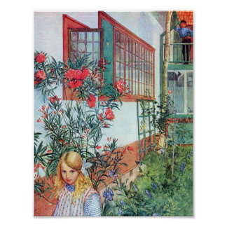 Girl in the Garden with Red Flowers Poster