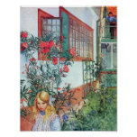 Girl in the Garden with Red Flowers Posters