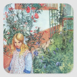 Girl in the Garden with Red Flowers Sticker