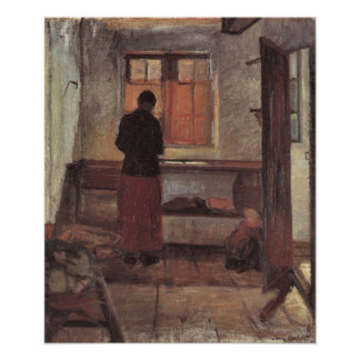 Girl in the Kitchen Ancher Vintage Impressionism Poster
