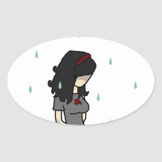 Girl in the rain 1 oval sticker