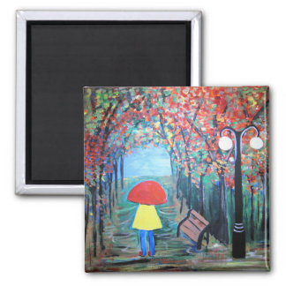 Girl in the Rain Refrigerator Magnet