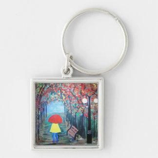 Girl in the Rain Silver-Colored Square Keychain