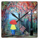 Girl in the Rain Wall Clocks