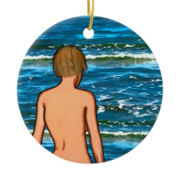Girl in the Sea Painting Ceramic Ornament
