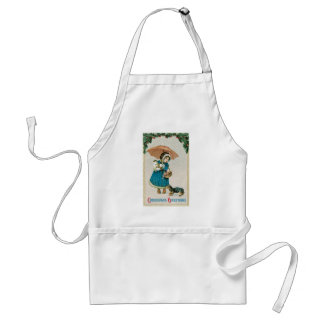 Girl in the Snow on Christmas with Cat and Dog Apron