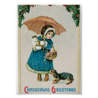 Girl in the Snow on Christmas with Cat and Dog Poster