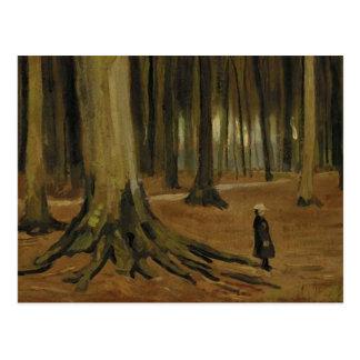 Girl in the Woods (F8a) Van Gogh Fine Art Postcard