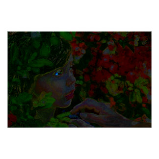 Girl in Tropics Flowers and Adults Hand Poster