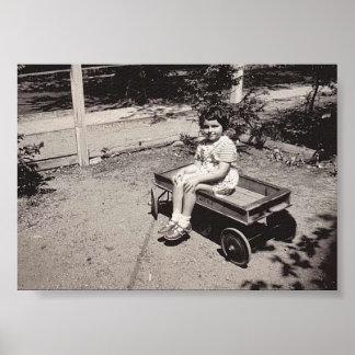 Girl in Wagon Vintage Photo Print