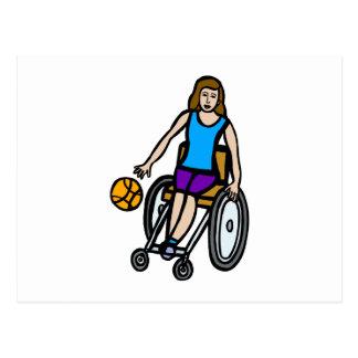 girl in wheelchair basketball postcard