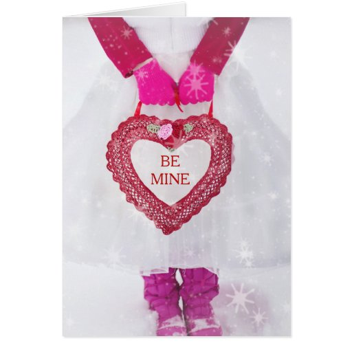 Girl In White Dress With Valentine Heart Card