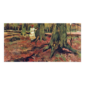 Girl In White In The Woods Girl In White Picture Card