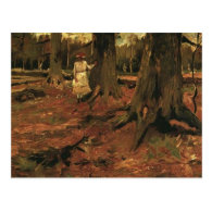 girl in white in the woods, Vincent van Gogh Post Card