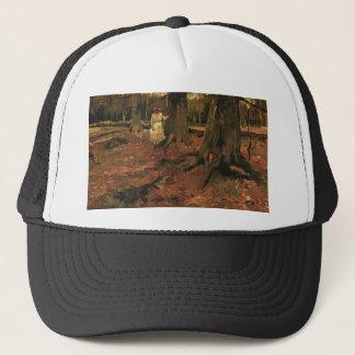 girl in white in the woods, Vincent van Gogh Trucker Hat