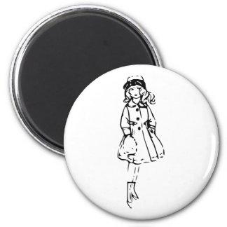 Girl in Winter 2 Inch Round Magnet