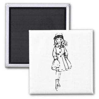 Girl in Winter 2 Inch Square Magnet