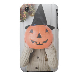 Girl in witch hat holding jack-o-lantern iPhone 3 case