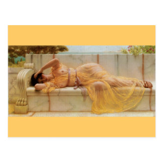 Girl in Yellow Drapery - Vintage - Godward Postcard