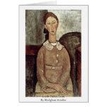 Girl In Yellow Dress By Modigliani Amedeo Greeting Card