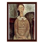 Girl In Yellow Dress By Modigliani Amedeo Postcard