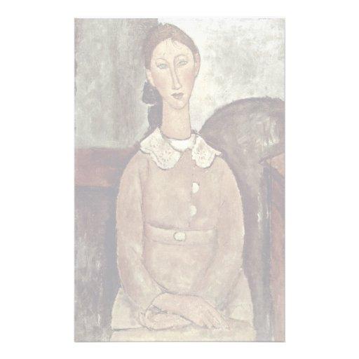 Girl In Yellow Dress By Modigliani Amedeo Custom Stationery