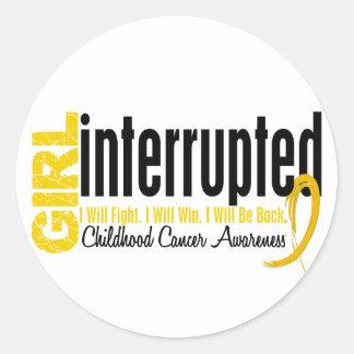 Girl Interrupted 1 Childhood Cancer Round Sticker