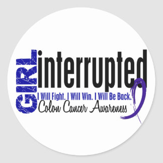 Girl Interrupted 1 Colon Cancer Round Stickers