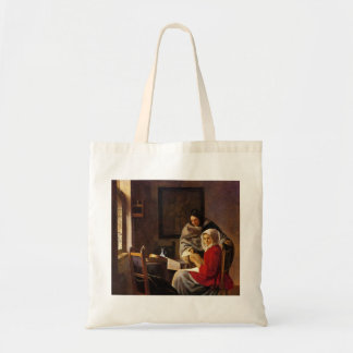 Girl interrupted in her music by Johannes Vermeer Tote Bags
