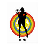 girl, it's me , soccer player and big fans post card