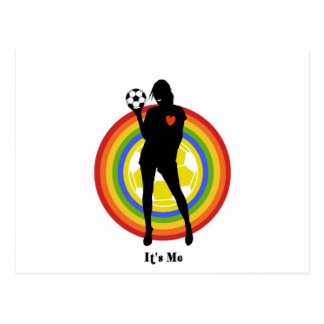 girl, it's me , soccer player and big fans postcard