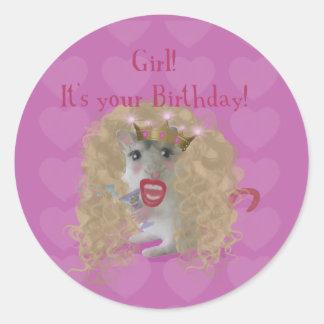 Girl It's your Birthday! Classic Round Sticker