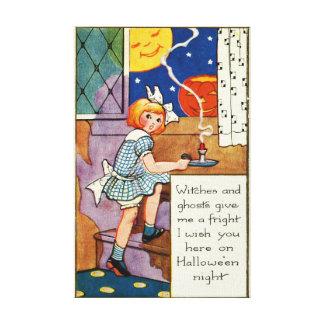 Girl Jack O Lantern Man In The Moon Canvas Print