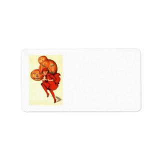 Girl Jack O Lantern Pumpkin Label