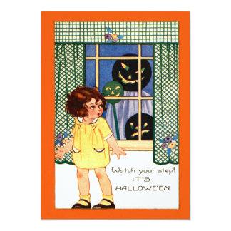 Girl Jack O' Lantern Pumpkin Trick Or Treat Card